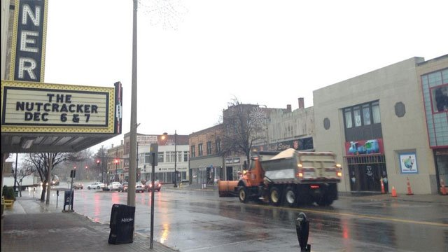 Wet snow falling in downtown Torrington
