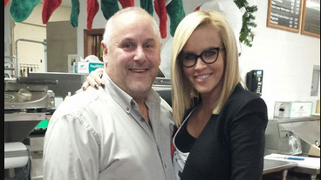 Owner Steve Katz poses for a photo with Jenny McCarthy who visited Nardelli's Grinder Shoppe.