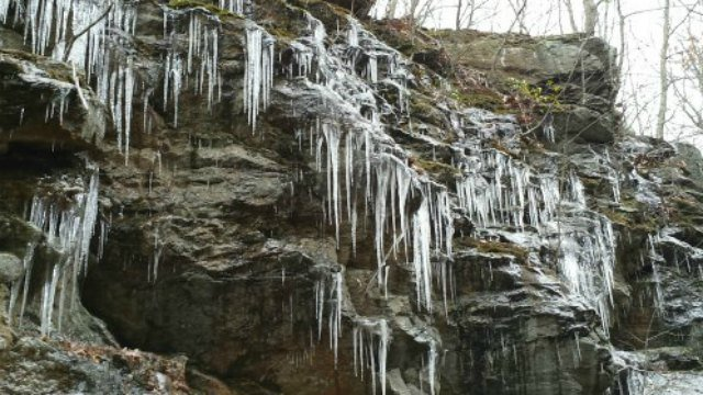 Icicles cover the rock face along the Air Line Trail (WFSB)