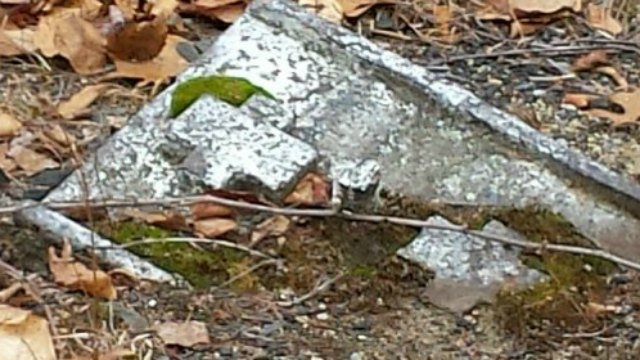 Railroad remnant poking through the ground at Rapallo Viaduct. (WFSB)