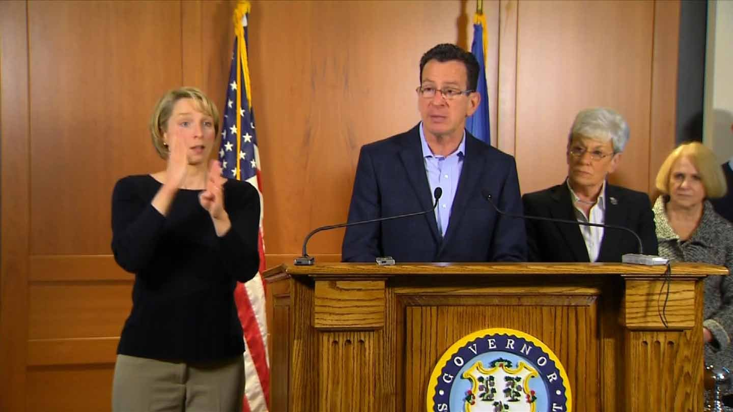 Gov. Dannel Malloy held a news conference Monday morning in advance of the blizzard. (WFSB photo)