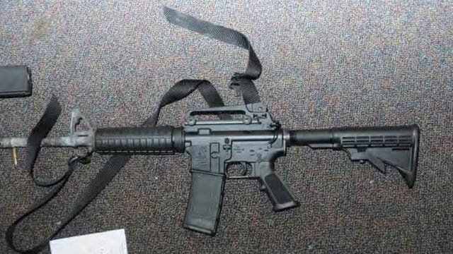 The bushmaster rifle used in the Sandy Hook shooting. (CT state police photo)