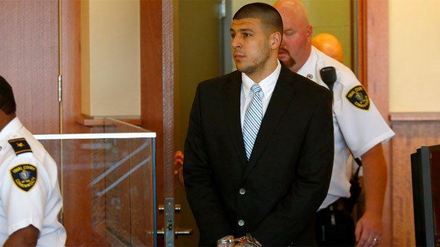 AP file photo of Aaron Hernandez, who  has sued a company after some of his jailhouse phone calls were apparently listened to by an unknown person.