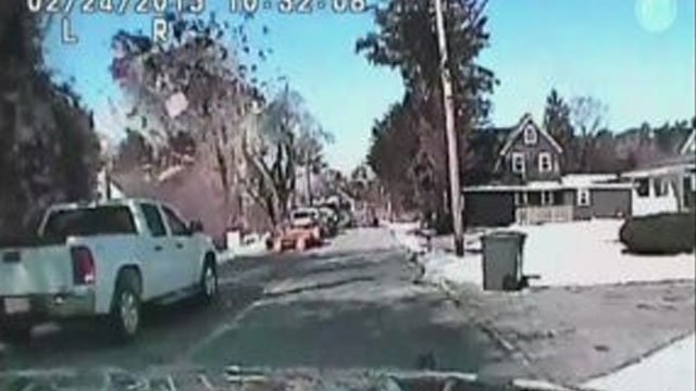 This picture of the house explosion was provided from dash cam video by the Stafford Township Police Department