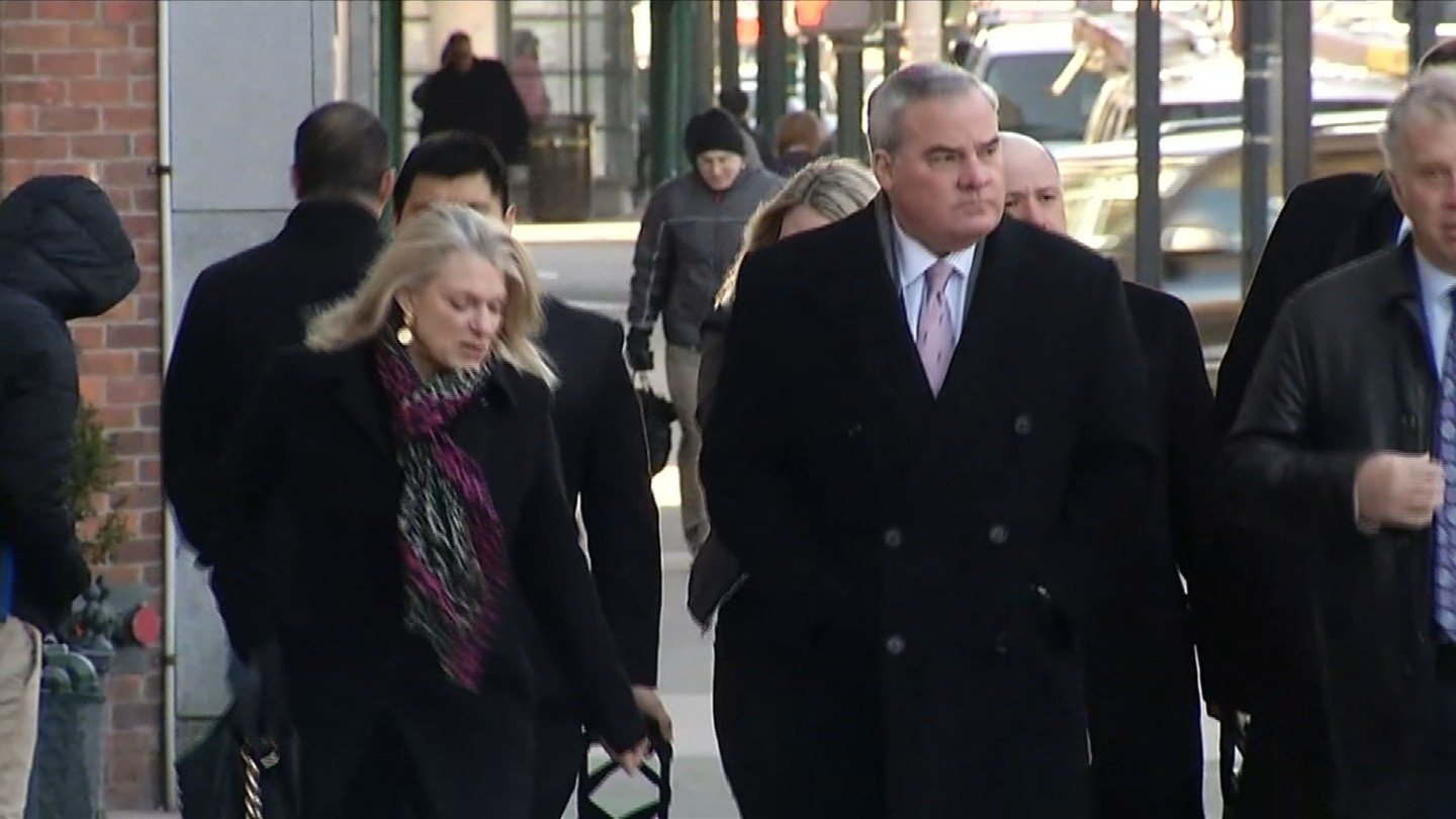 Former Gov. John Rowland arrives at federal court in New Haven. (WFSB photo)