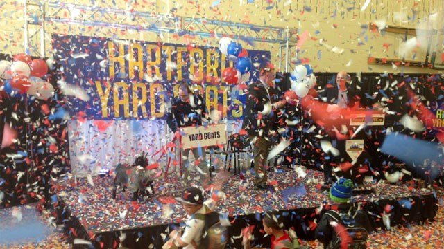 Anthony Castora enjoys the confetti after his name is chosen by the team. (WFSB)
