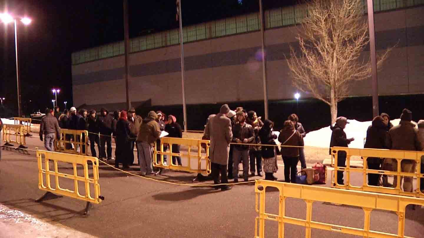 Lines stretched out of the door early Friday morning. (WFSB photo)