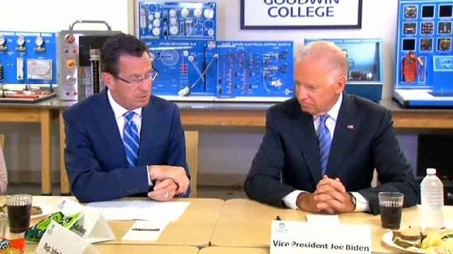 Gov. Dannel Malloy and Vice President Joe Biden during a previous trip to Connecticut. (WFSB photo)