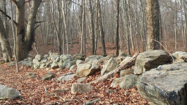Stone wall located along trail in Raven's Woods. (WFSB)