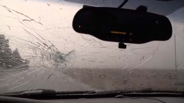 It was a rough drive for this weather chaser during a massive storm. (CBS)