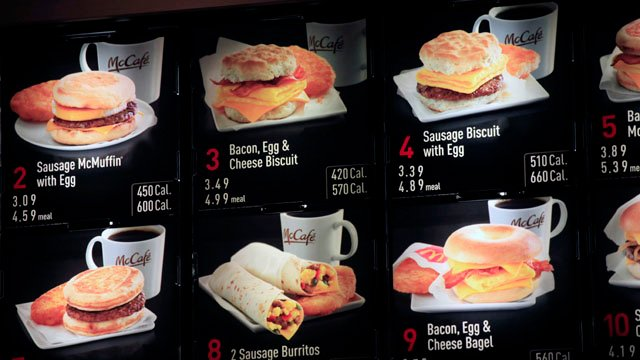 Items typically found on the McDonald's breakfast menu. (AP photo)