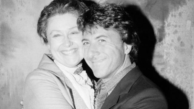 """Actor Dustin Hoffman hugs actress Elizabeth Wilson during his visit backstage at the Lyceum Theater in New York, Wednesday, May 7, 1980 following a matinee performance of """"Morning's At Seven."""" Ms. Wilson, who played the part of Hoffman's mother in """"The Gr"""