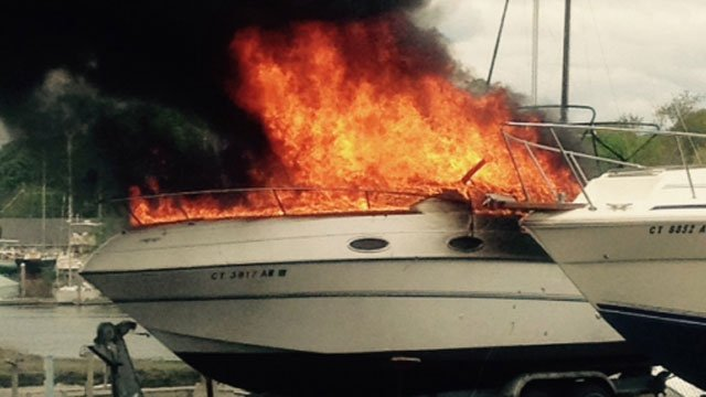Firefighters battled boat fire at Indian Neck Yacht Club on Wednesday (Branford Fire Department)
