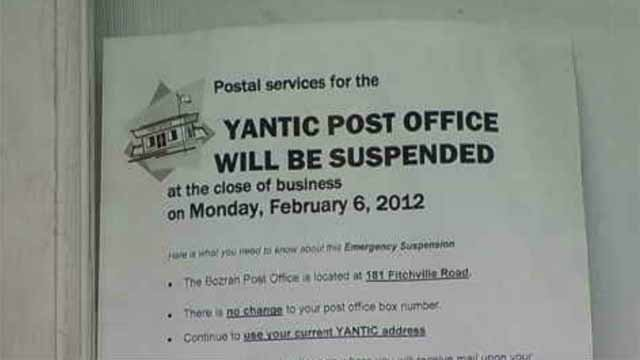 Regulators criticize closing of Yantic Post Office (WFSB)