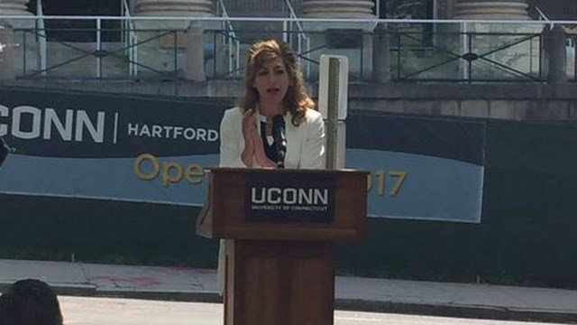 UConn president Susan Herbst responded to questions over her increased pay. (WFSB photo)