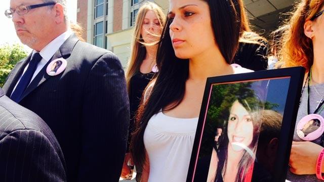 Kristen Milano's family outside of New Britain Superior Court. (WFSB photo)
