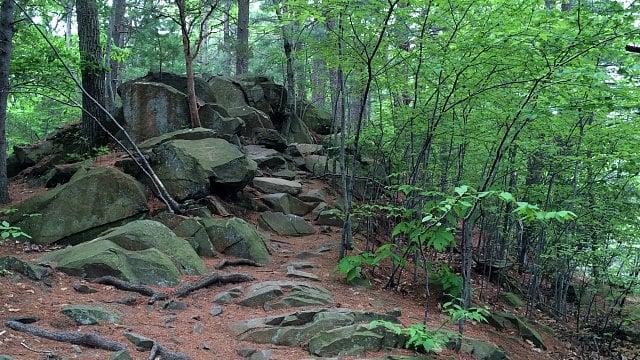 Trail turns rocky along Lake Wintergreen