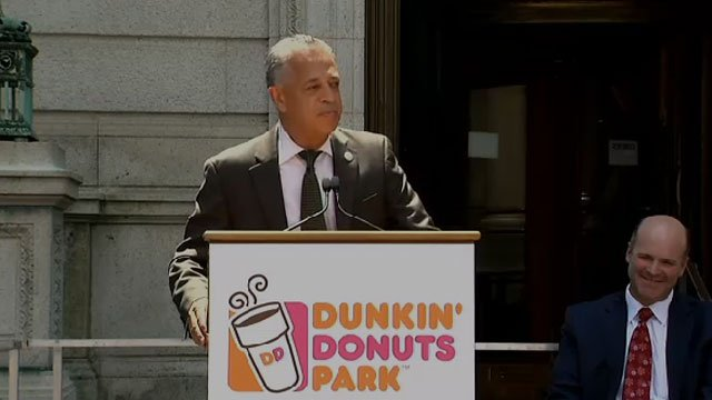 Hartford Mayor Pedro E. Segarra discusses the new Dunkin' Donuts Park. (WFSB)