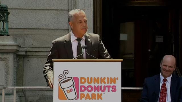 Hartford Mayor Pedro E. Segarra discusses the new Dunkin' Donuts Park. (WFSB)
