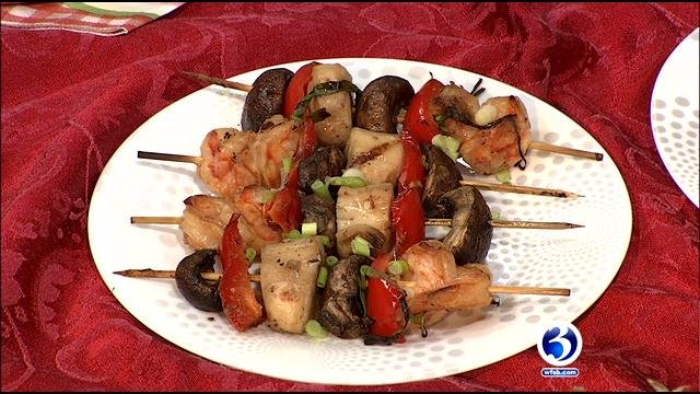 Weight Watchers makes soy-wasabi shrimp and scallop skewers. (WFSB)