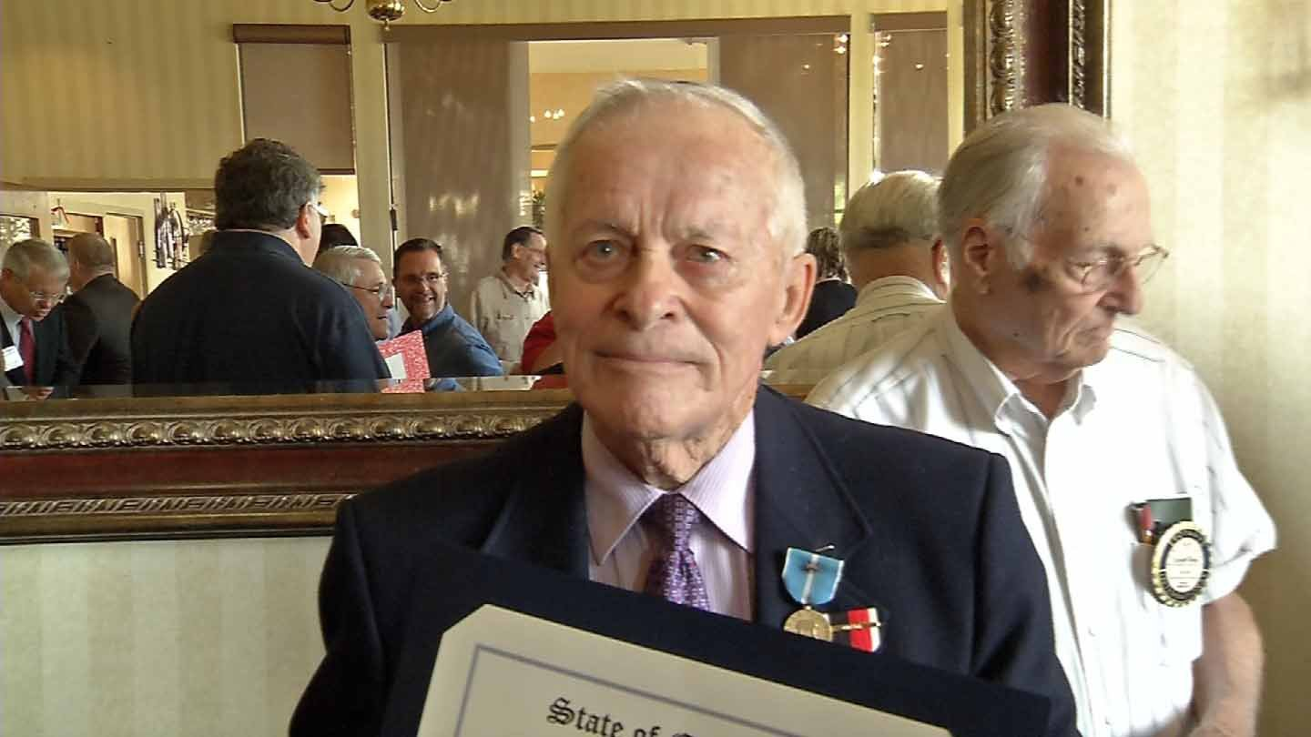 Renaud Albert received six medals on Tuesday. (WFSB photo)