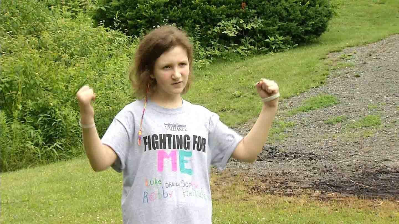 Morgan Platt poses during Rachel Platten's 'Fight Song.' (WFSB photo)