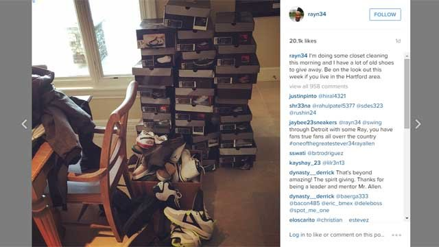 Basketball legend Ray Allen is cleaning out his closet, and people in Connecticut could have a piece of it. (Instagram)