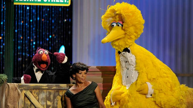 Telly Monster, left, Sonia Manzano, center, and Big Bird perform at the Daytime Emmy Awards in 2009. (AP photo)