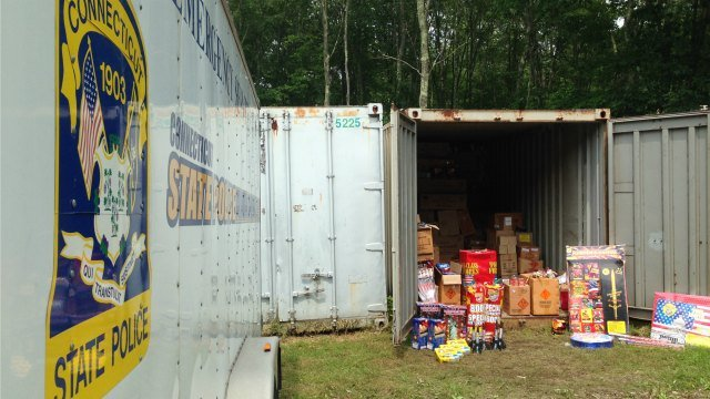 State police trailer surround a trailer where the illegal fireworks are being housed. (WFSB)