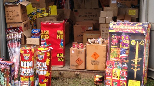 Four state police trailers are filled with the illegal fireworks. (WFSB)