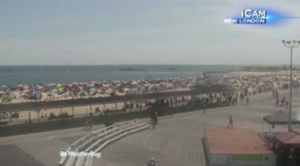 Ocean Beach in New London employees are reporting that the parking lot is closed on Friday.(WFSB I-Cam)