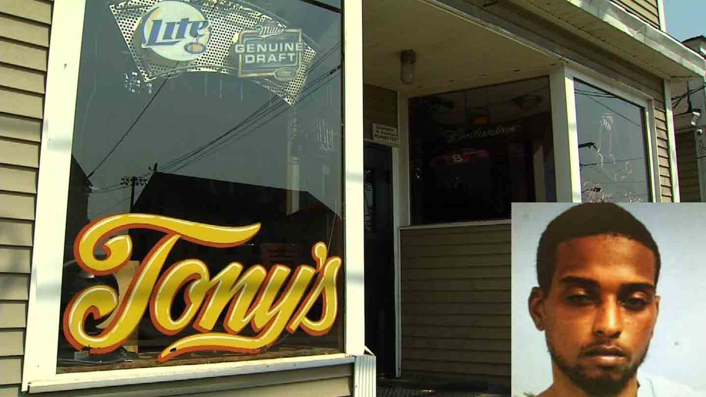 Montreece Prather was arrested for a shooting that started at Tony's Pub in Willimantic. (WFSB/Willimantic police photos)
