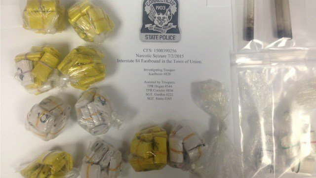 State police released this photo of the drugs seized during a traffic stop in Vernon.