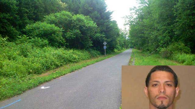 Luis Ortiz is accused of raping a woman along this trail in Avon. (WFSB/Chicopee police photo)