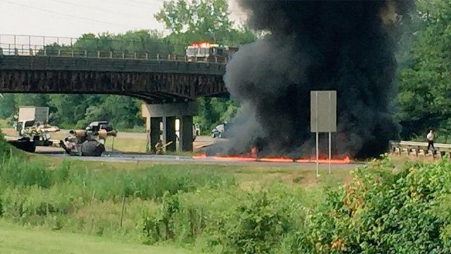 A crash/fire on the northbound side of Interstate 91 was reported near exit 16. (WFSB)