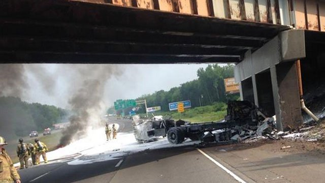State police tweeted this photo of the cleanup after the crash and fire on I-91.