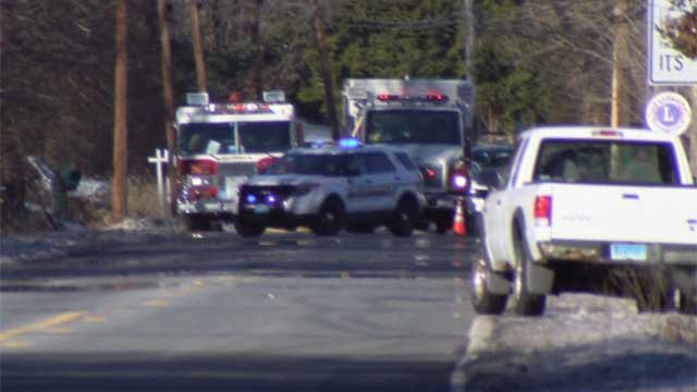 Two tractor-trailers collided on Route 10 in Cheshire. (WFSB)