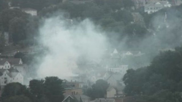 Smoke could be seen on WFSB city cameras after a house fire in Waterbury. (WFSB)
