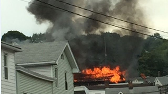 Large house fire reported in Waterbury. (Kristen Holmes)