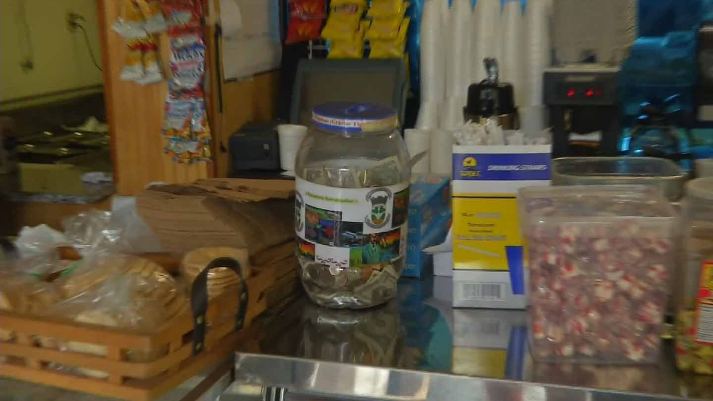The bakery owner said this was the tip jar the suspect tried to steal. (WFSB photo)