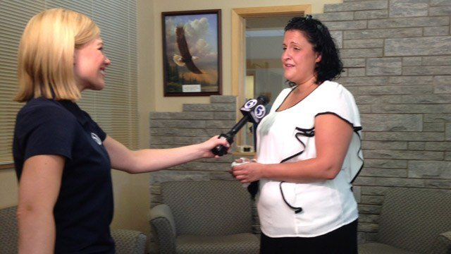 Jessica Koromanian was surprised at CCARC in New Britain on Wednesday. (WFSB photo)