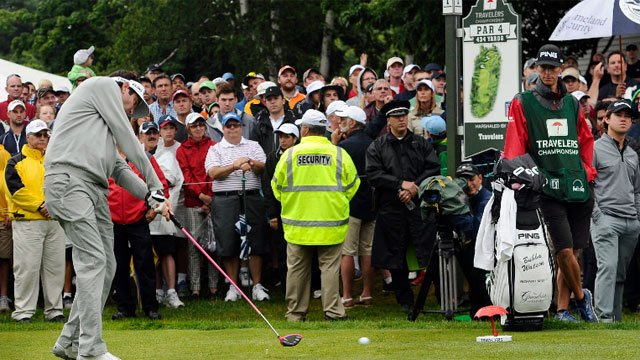 Bubba Watson hits tee shot during the final round of the Travelers Championship golf tournament. The tournament is moving to August in 2016. (AP Photo/Jessica Hill)