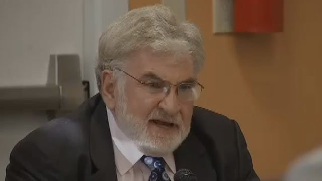 Robert Killian speaks during the Hartford mayoral debate this week. He dropped out of the race on Friday. (WFSB)