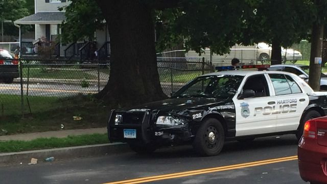 A police cruiser was damaged in the crash. (WFSB)