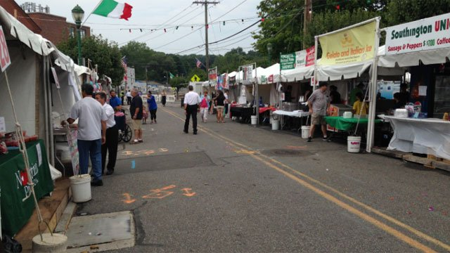 Merchants setup for the Southington Italian festival. (WFSB)
