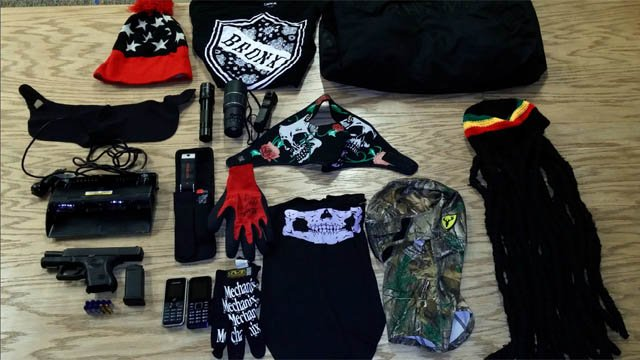 The alleged disguises discovered by Hartford police in the suspect's vehicle. (Hartford police photo)