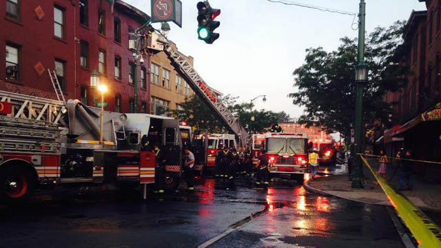 Park Street remains closed after a fire left three firefighters with minor injuries. (WFSB photo)