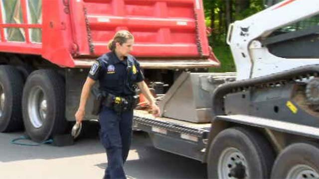 Avon Police Officer Sue Kassey is the only one on the police force certified to perform commercial vehicle inspections. (WFSB)