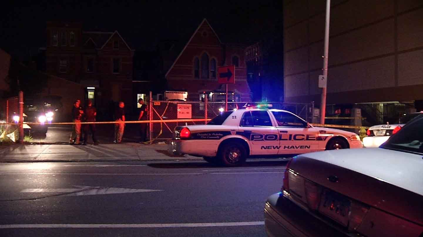 Police roped off the old Salvation Army building on George Street in New Haven for their investigation. (WFSB photo)