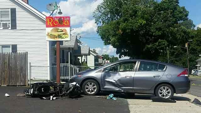 Teen injured in Willimantic car vs scooter crash (iwitness photo)